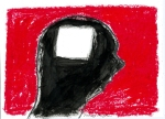 A rough outline in pencil of the profile of a head facing right roughly filled in with black paint with a rough white square where brain should be. Background scribbled in with red pastel.